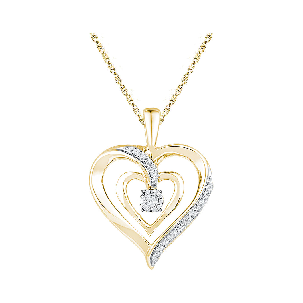 10kt Yellow Gold Womens Round Diamond Moving Twinkle Solitaire Heart Pendant 1/10 Cttw