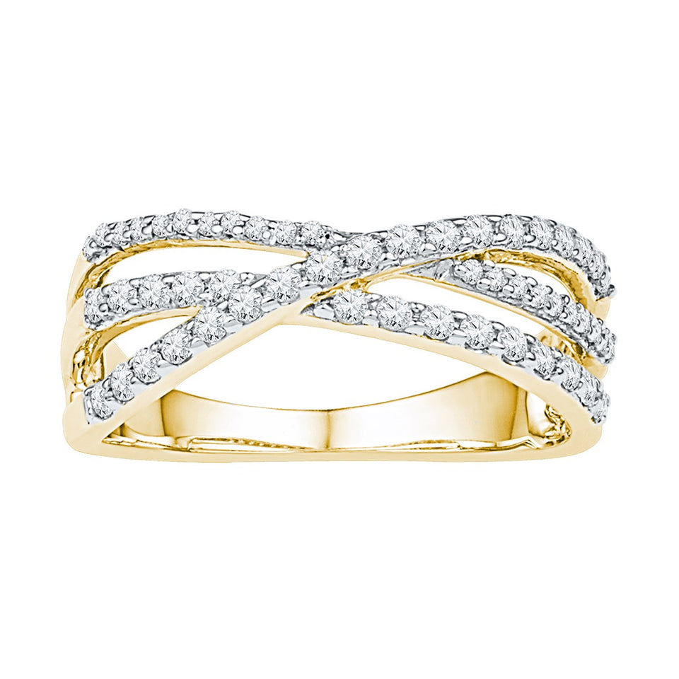 10kt Yellow Gold Womens Round Diamond Triple Strand Crossover Band 1/2 Cttw