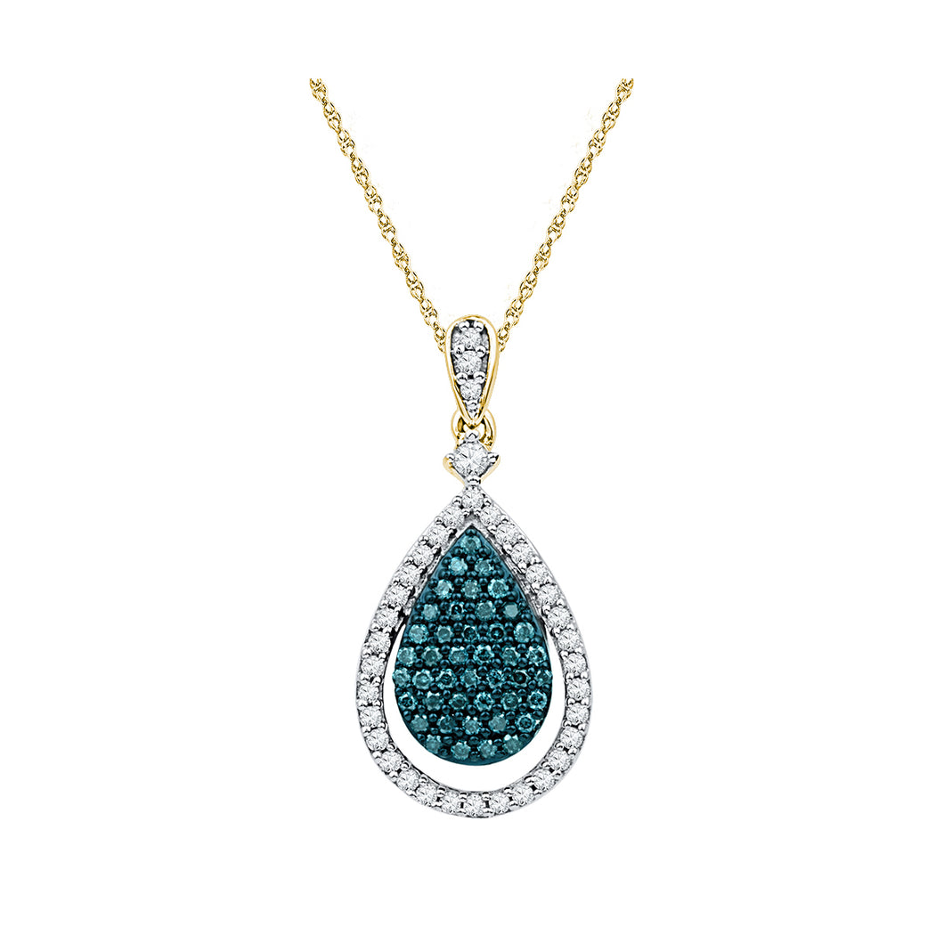 10kt Yellow Gold Womens Round Blue Color Enhanced Diamond Teardrop Pendant 5/8 Cttw