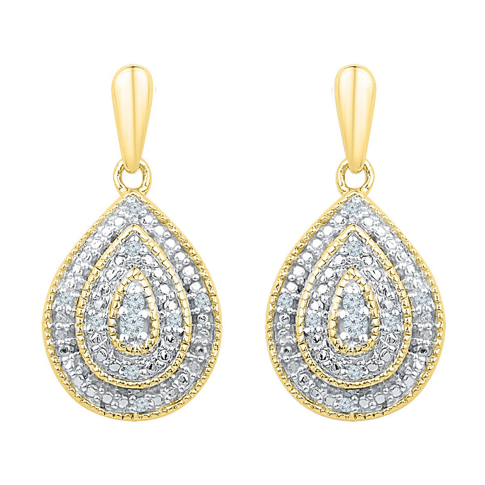 10kt Yellow Gold Womens Round Diamond Milgrain Teardrop Screwback Dangle Earrings 1/10 Cttw