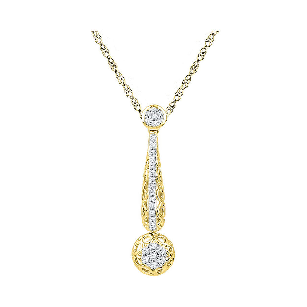 10kt Yellow Gold Womens Round Diamond Drop Cluster Pendant 1/3 Cttw