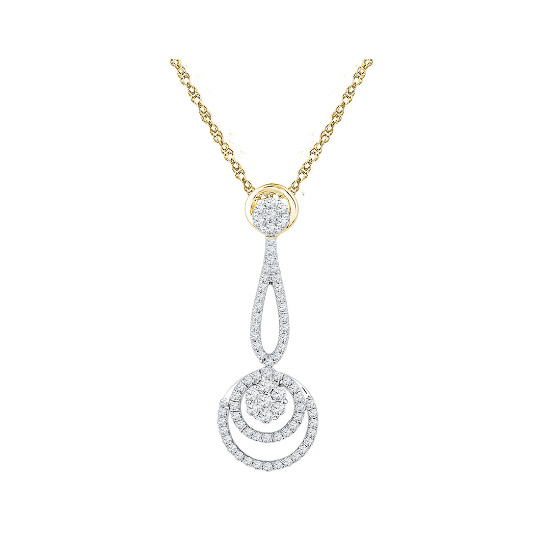 10kt Yellow Gold Womens Round Diamond Dangling Cluster Pendant 3/4 Cttw