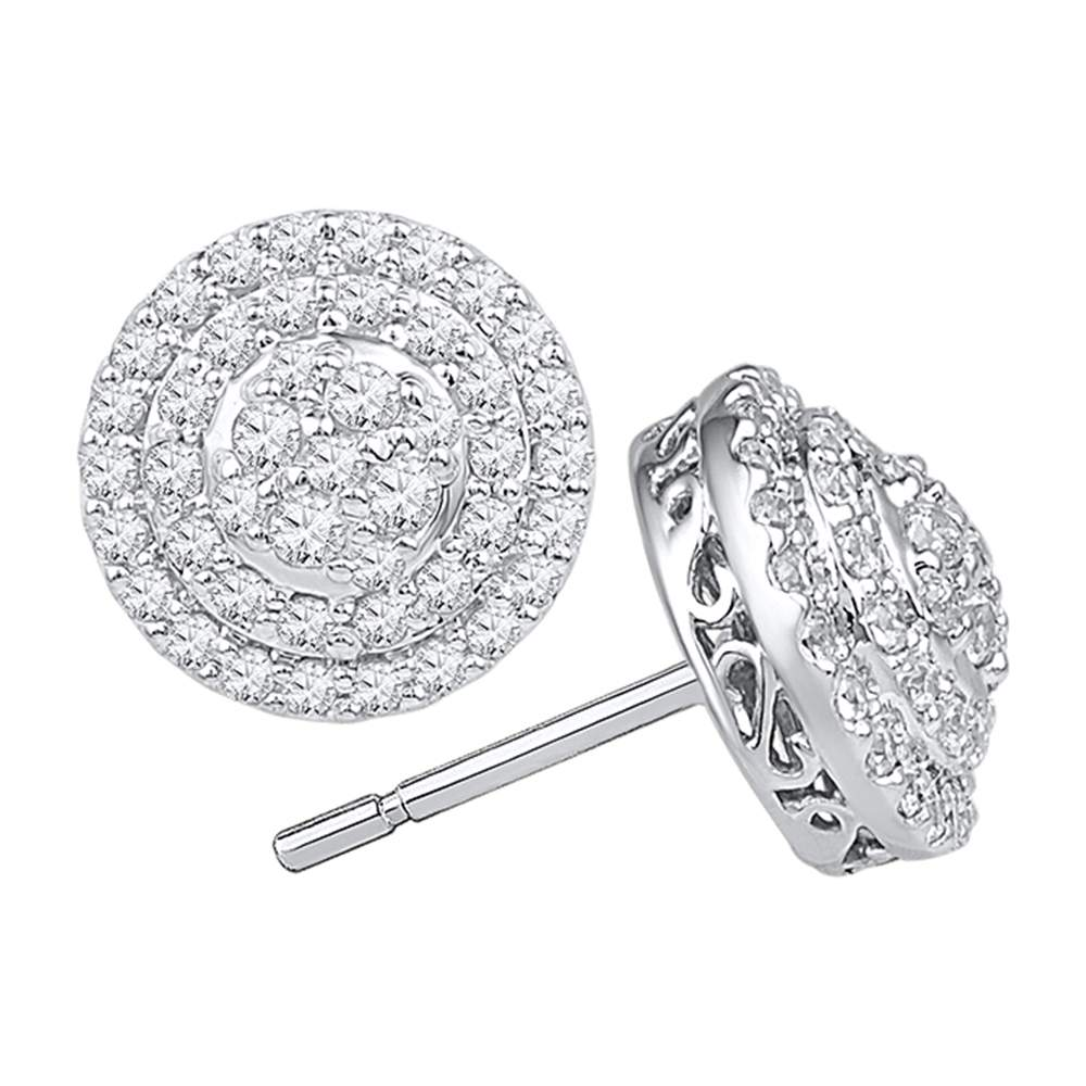 10kt White Gold Womens Round Diamond Concentric Circle Layered Cluster Earrings 3/4 Cttw