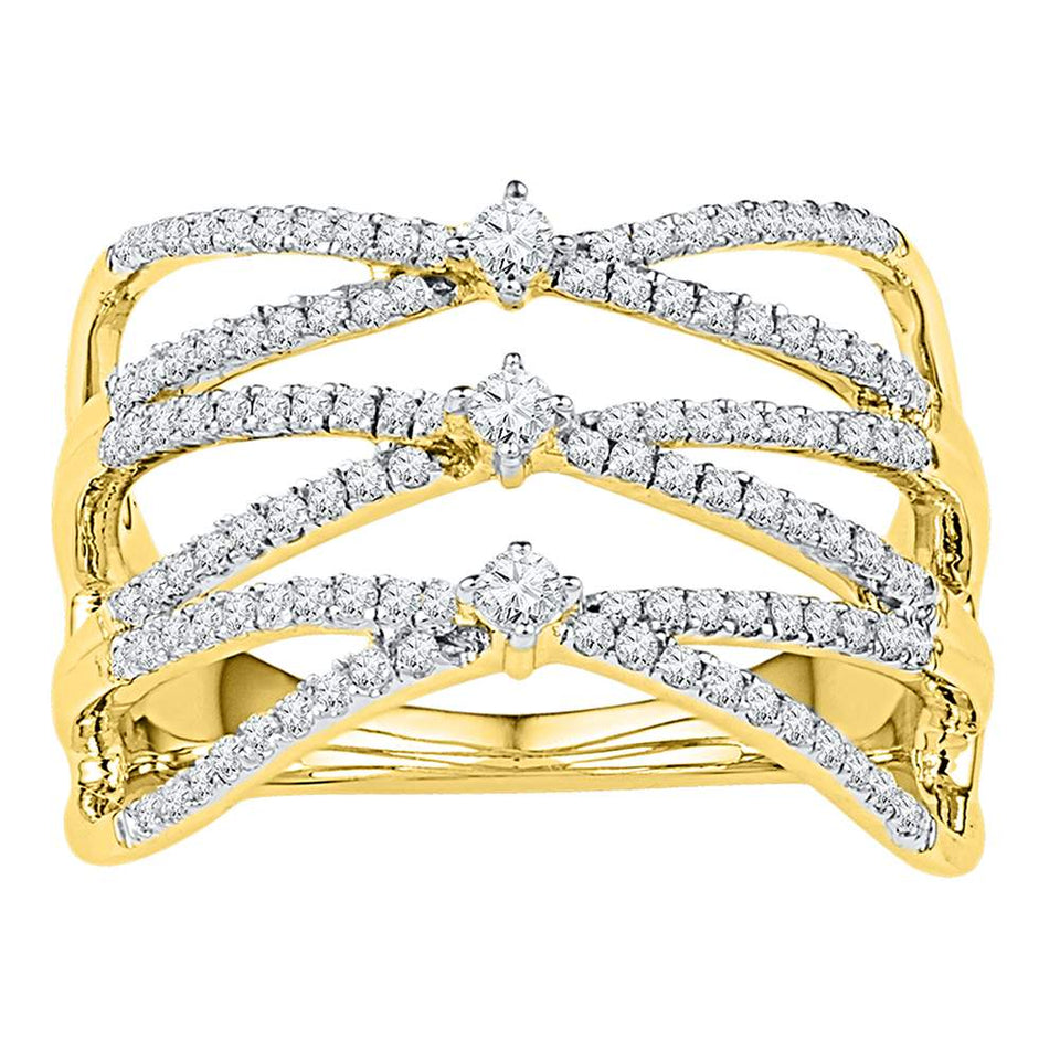 10kt Yellow Gold Womens Round Diamond Crisscross Crossover Strand Band Ring 1/2 Cttw
