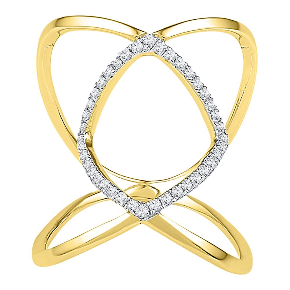 10kt Yellow Gold Womens Round Diamond Open Strand Knuckle Fashion Ring 1/6 Cttw