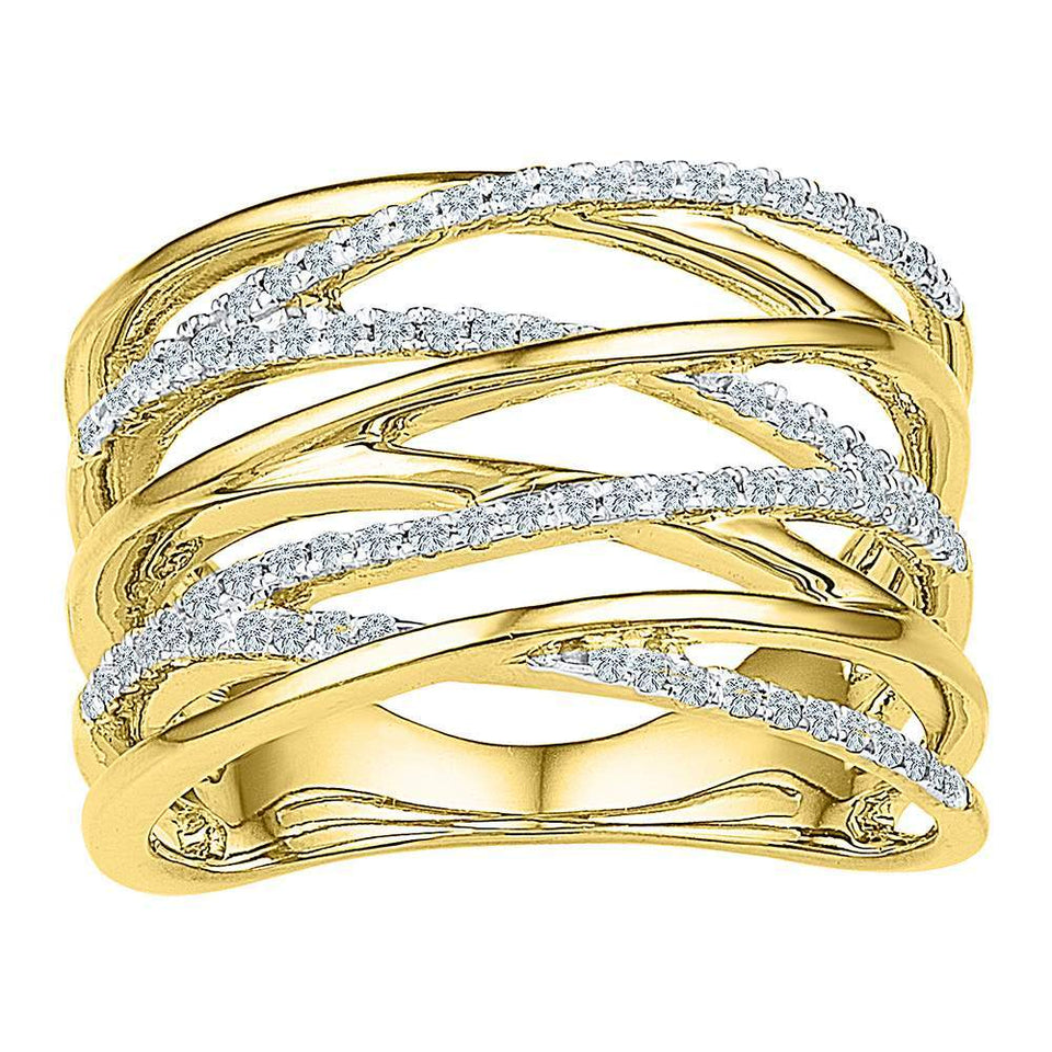 10kt Yellow Gold Womens Round Diamond Crossover Open Strand Band 1/4 Cttw