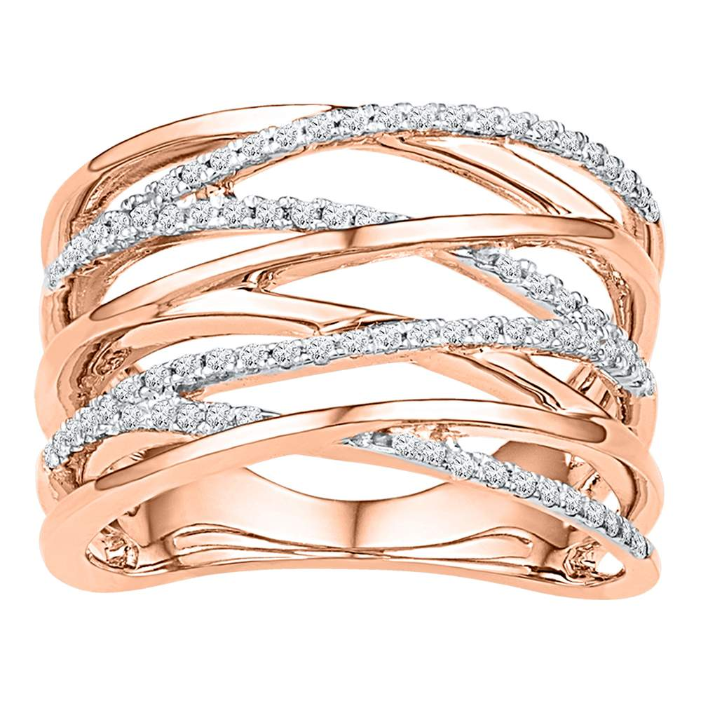 10kt Rose Gold Womens Round Diamond Crossover Strand Fashion Band Ring 1/4 Cttw