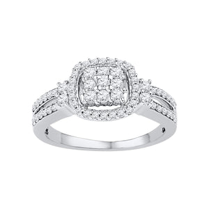 10kt White Gold Womens Round Diamond Cushion-frame Cluster Split-shank Ring 1/2 Cttw