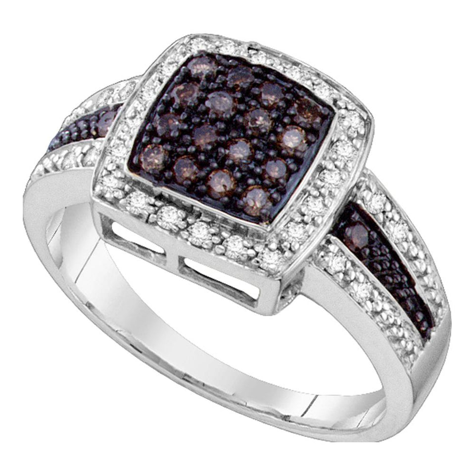 10kt White Gold Womens Round Brown Color Enhanced Diamond Cluster Ring 1/2 Cttw - Size 8