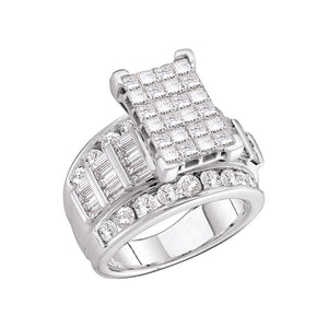 14kt White Gold Womens Princess Diamond Cluster Bridal Wedding Engagement Ring 3.00 Cttw - Size 11
