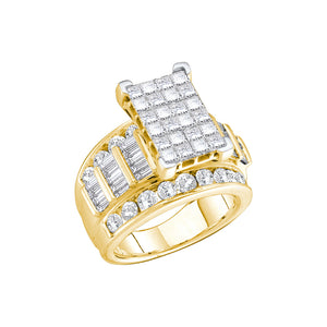 14kt Yellow Gold Womens Princess Diamond Cluster Bridal Wedding Engagement Ring 3.00 Cttw - Size 9