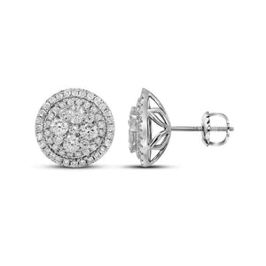14kt White Gold Womens Round Diamond Framed Flower Cluster Earrings 1-5/8 Cttw