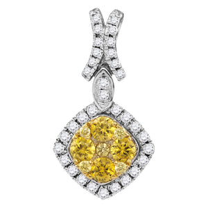 14kt White Gold Womens Round Yellow Diamond Diagonal Square Frame Cluster Pendant 1.00 Cttw