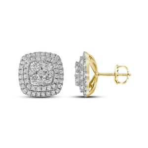 14kt Yellow Gold Womens Round Diamond Double Square Frame Cluster Earrings 1-1/2 Cttw