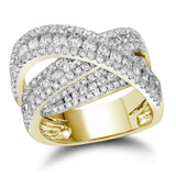 10kt Yellow Gold Womens Round Diamond Crossover Fashion Band Ring 2.00 Cttw