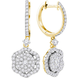 14kt Yellow Gold Womens Round Diamond Hexagon Frame Cluster Dangle Earrings 1.00 Cttw