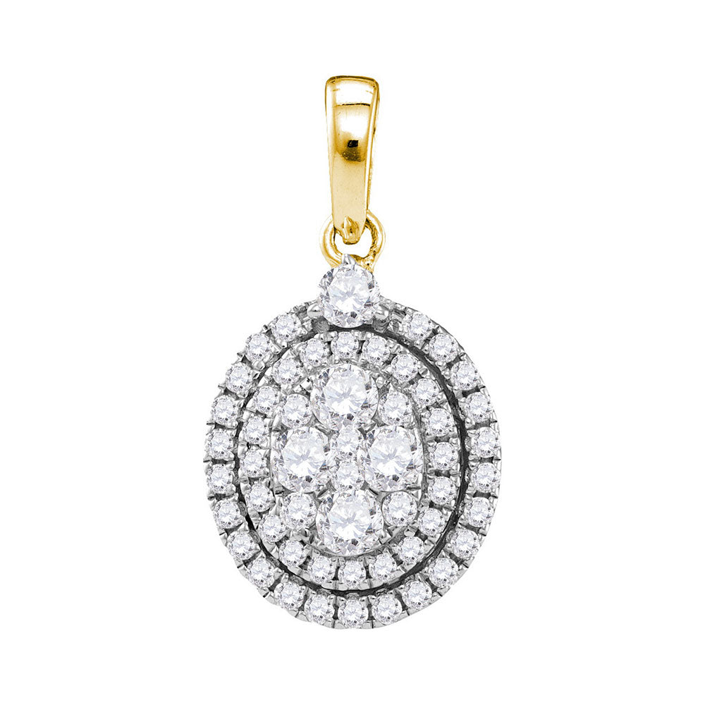 14kt Yellow Gold Womens Round Diamond Oval Cluster Pendant 1-1/10 Cttw