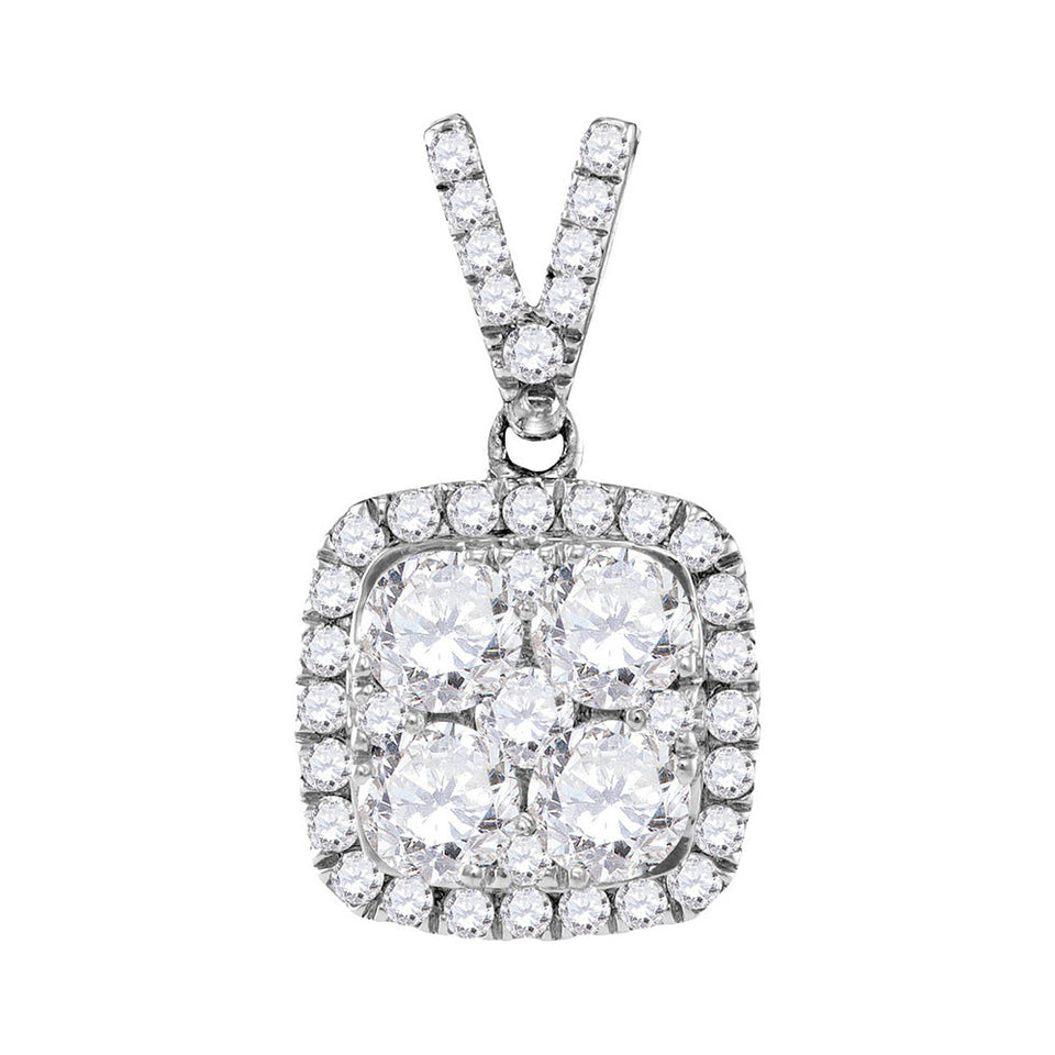 10kt White Gold Womens Round Diamond Square Cluster Pendant 1-1/3 Cttw
