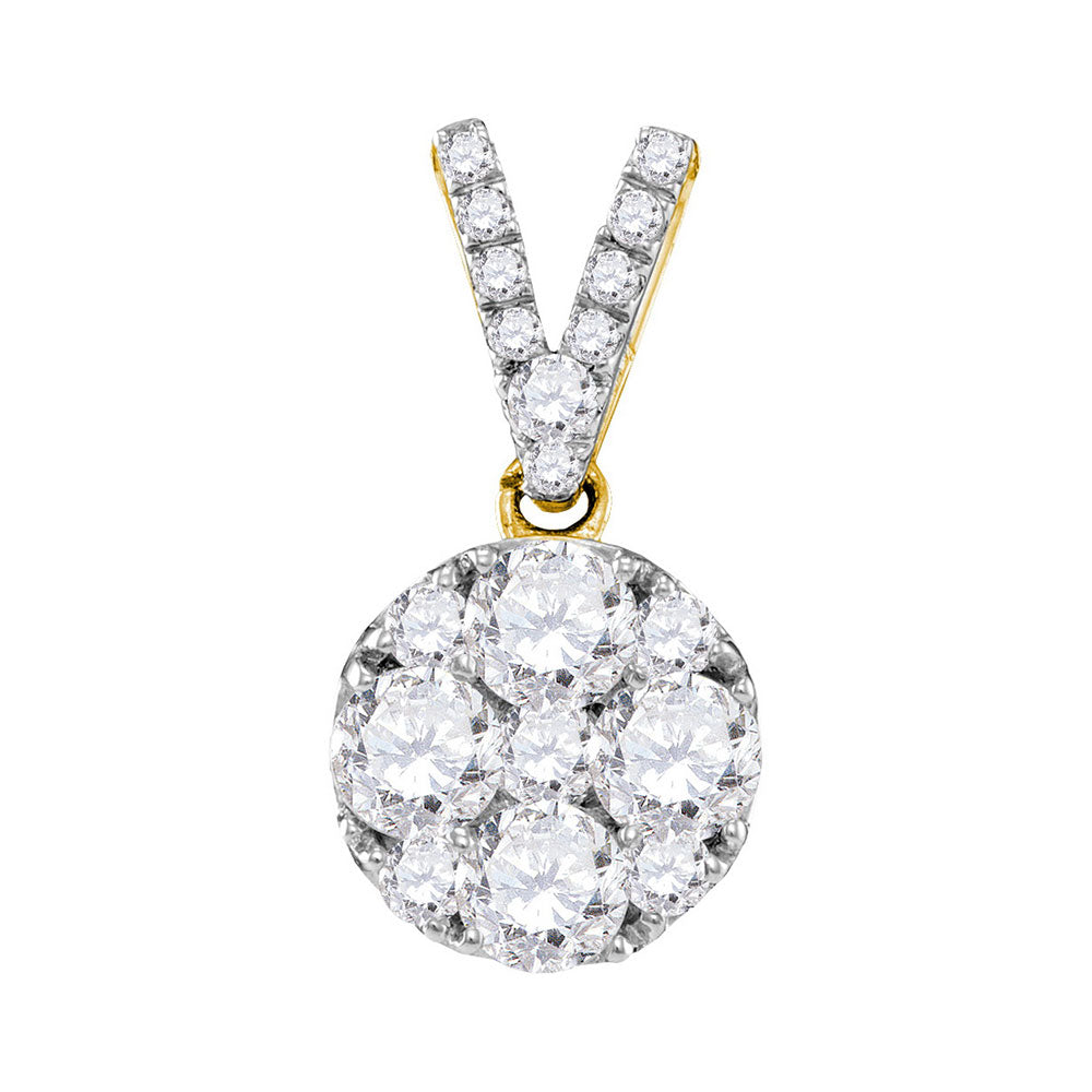 10kt Yellow Gold Womens Round Diamond Cluster Pendant 1.00 Cttw
