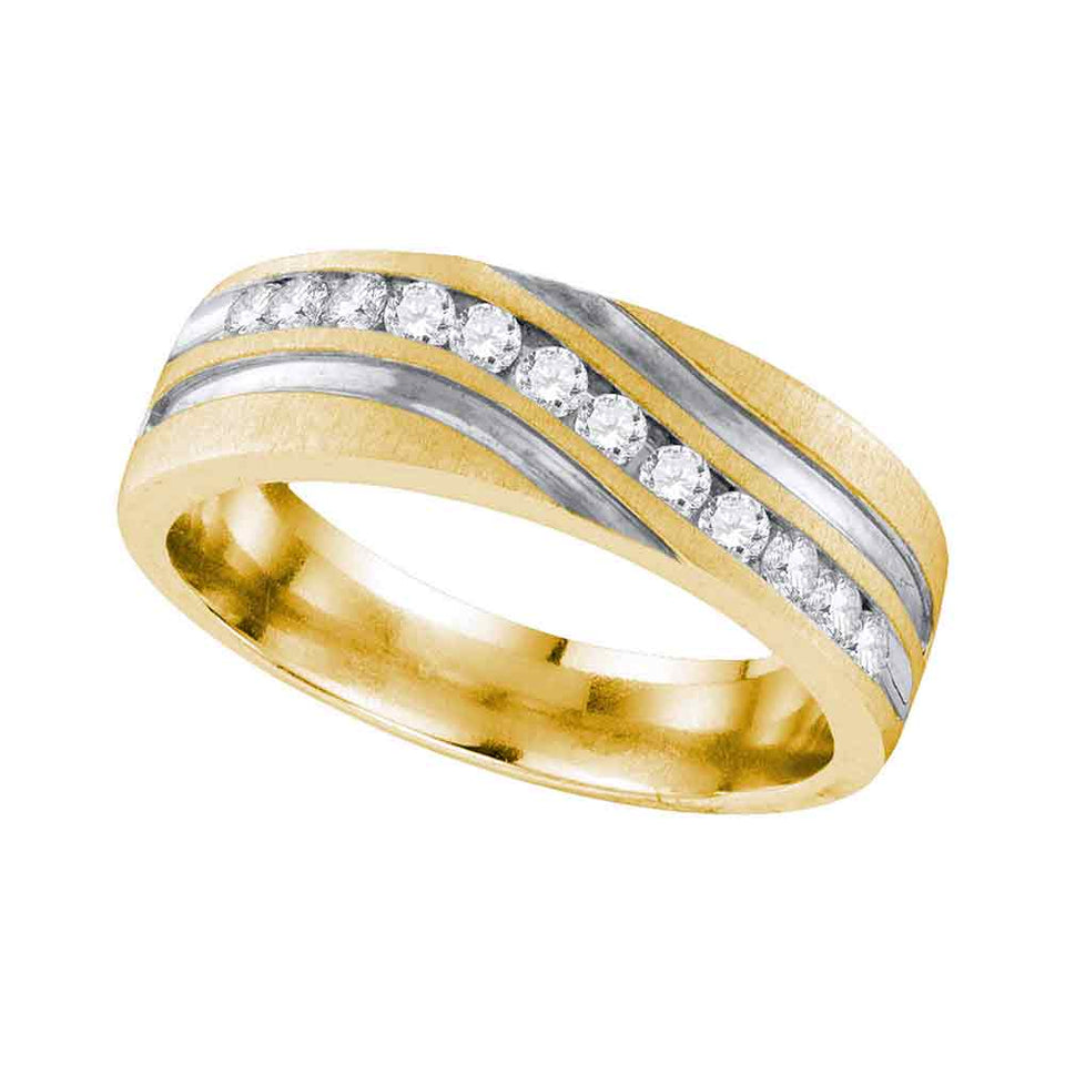 10k Yellow Gold Womens Round Diamond 2-tone Band Ring 1//12 Cttw