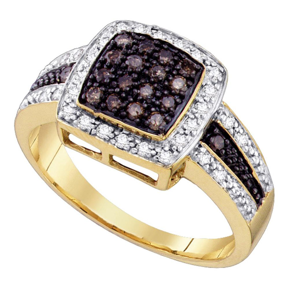 14kt Yellow Gold Womens Round Brown Color Enhanced Diamond Cluster Ring 1/2 Cttw - Size 5