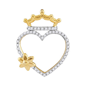 10kt Yellow Gold Womens Round Diamond Heart Crown Flower Pendant 1/5 Cttw