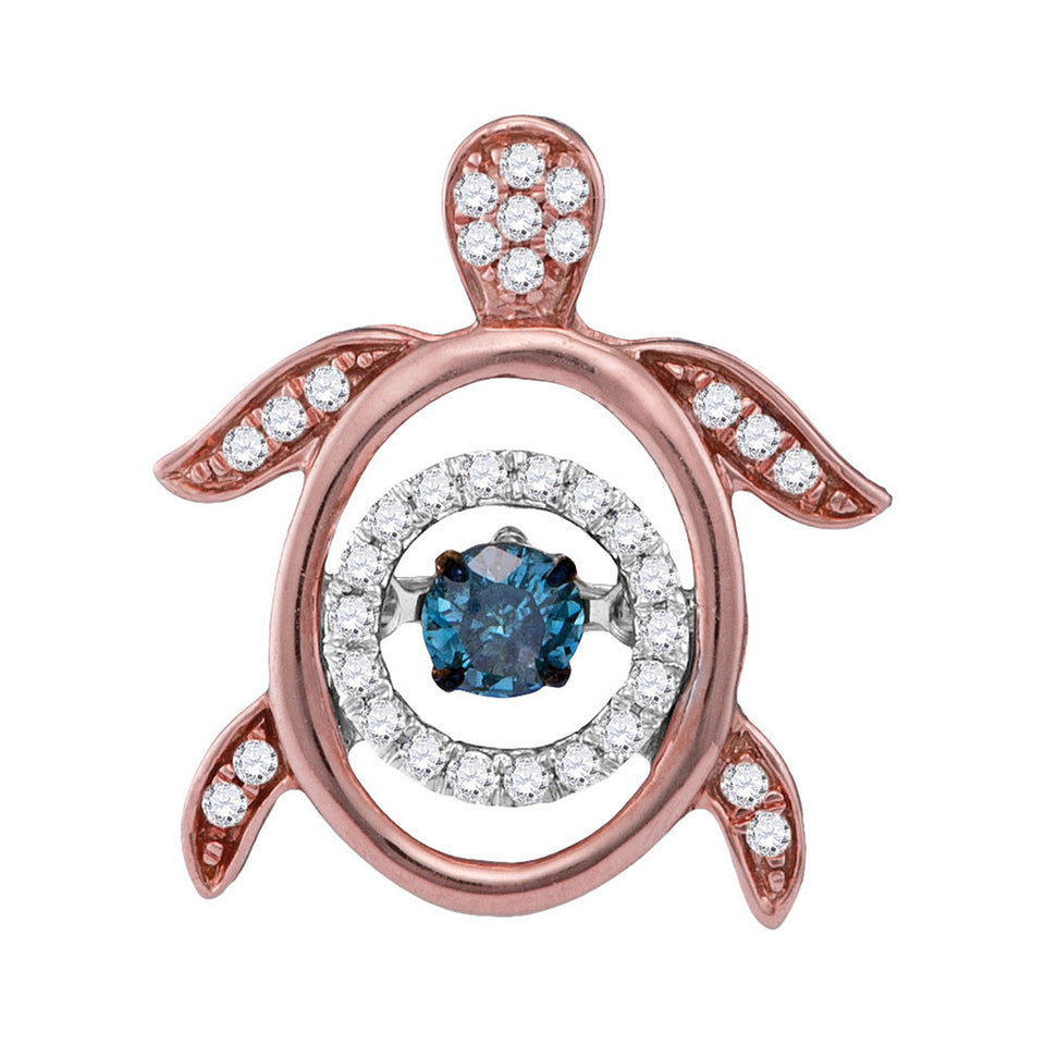 10kt Rose Gold Womens Round Blue Color Enhanced Diamond Turtle Tortoise Twinkle Moving Pendant 1/3 Cttw