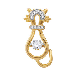 10kt Yellow Gold Womens Round Diamond Kitty Cat Feline Twinkle Moving Pendant 1/5 Cttw