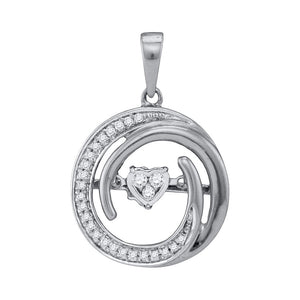 10kt White Gold Womens Round Diamond Moving Twinkle Heart Circle Pendant 1/6 Cttw