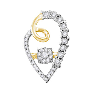 10kt Yellow Gold Womens Round Diamond Moving Twinkle Cluster Heart Pendant 1/5 Cttw