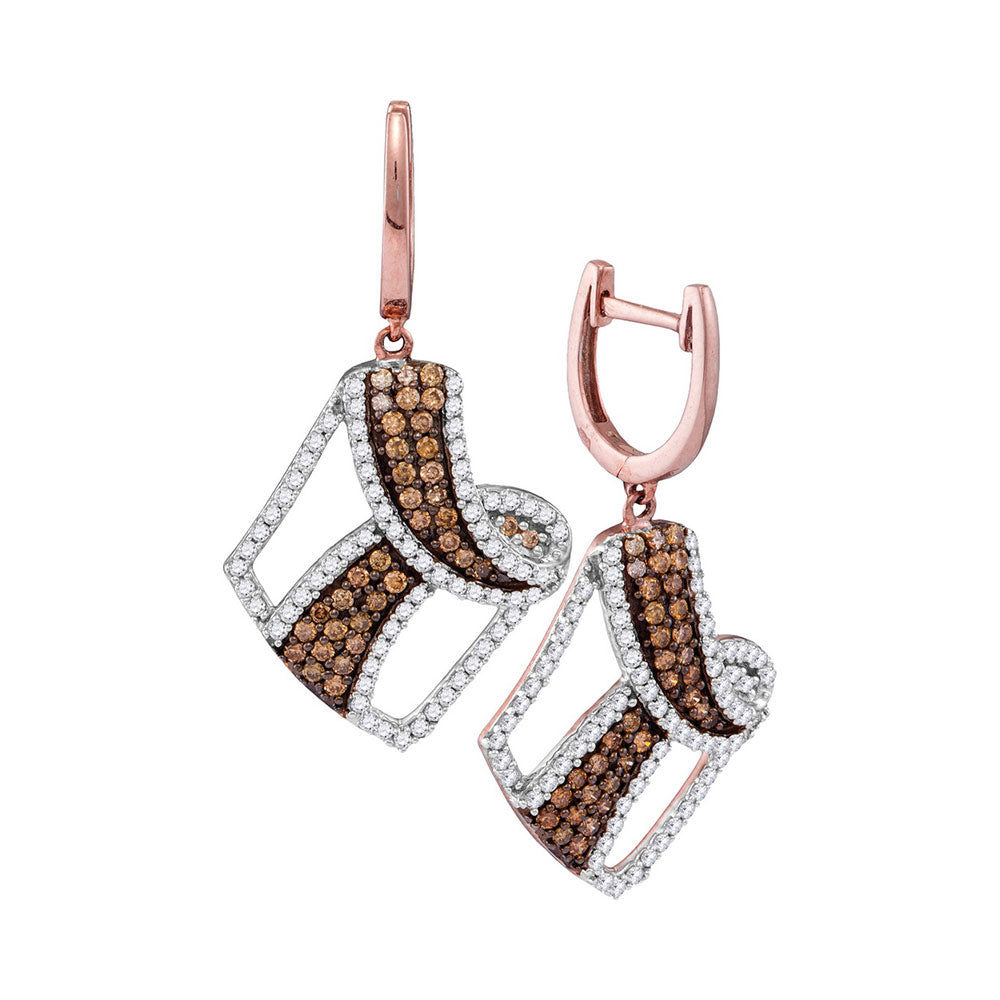 10kt Rose Gold Womens Round Cognac-brown Color Enhanced Diamond Dangle Earrings 1-3/4 Cttw