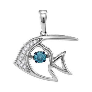 10kt White Gold Womens Round Blue Color Enhanced Diamond Fish Animal Nautical Pendant 1/5 Cttw