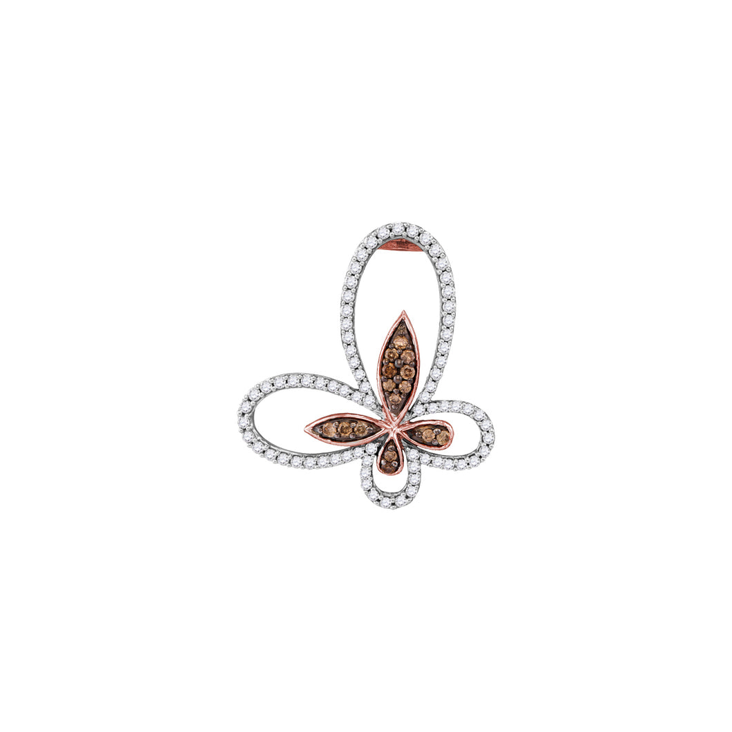 10kt Rose Gold Womens Round Cognac-brown Color Enhanced Diamond Butterfly Bug Pendant 7/8 Cttw