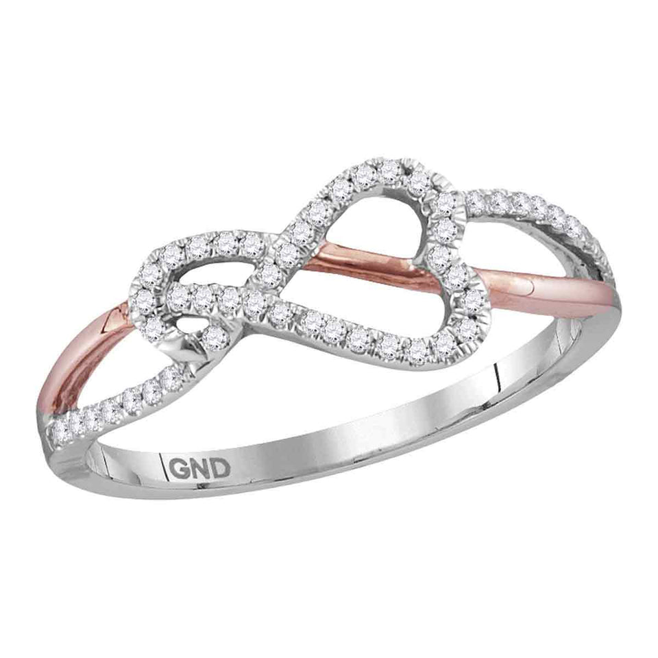 10kt White Gold Womens Round Diamond Heart Rose-tone Woven Ring 1/6 Cttw