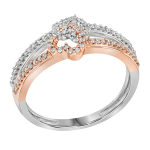 10kt Two-tone White Gold Womens Round Diamond Double Heart Ring 1/5 Cttw