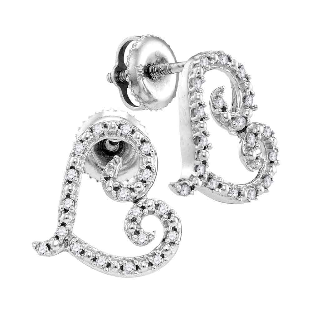 10kt White Gold Womens Round Diamond Heart Love Earrings 1/6 Cttw