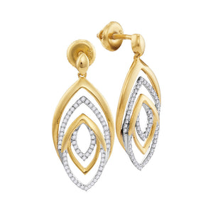 10kt Yellow Gold Womens Round Diamond Dangle Earrings 1/3 Cttw