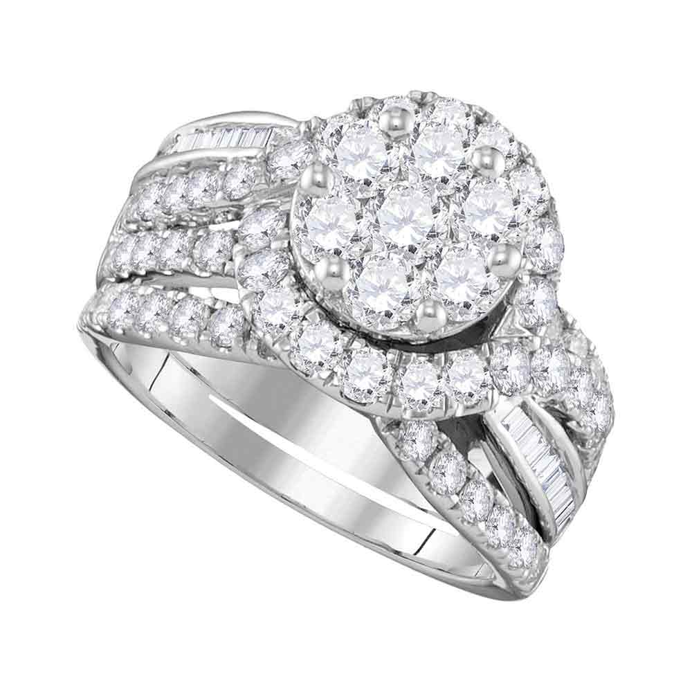 14kt White Gold Womens Round Diamond Flower Cluster Bridal Wedding Engagement Ring Band Set 2-1/2 Cttw