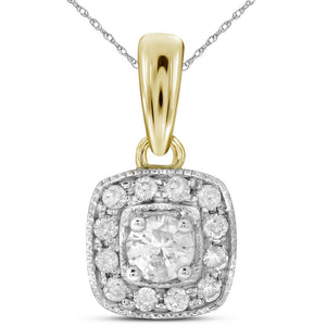 14kt Yellow Gold Womens Round Diamond Solitaire Square Halo Pendant 1/4 Cttw