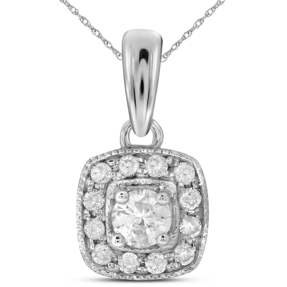 14kt White Gold Womens Round Diamond Solitaire Square Halo Pendant 1/4 Cttw