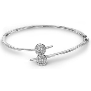 14kt White Gold Womens Princess Round Diamond Double Cluster Bangle Bracelet 3/4 Cttw