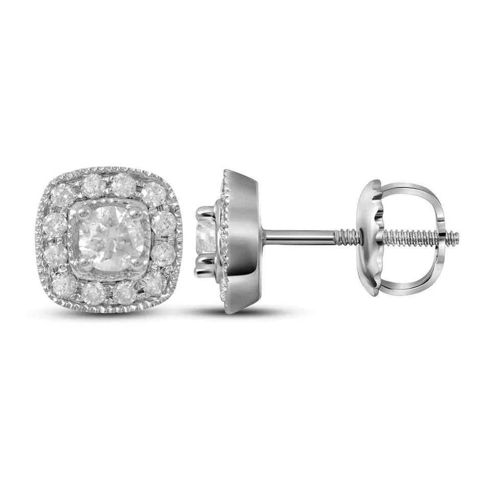 14kt White Gold Womens Round Diamond Solitaire Square Frame Earrings 3/8 Cttw