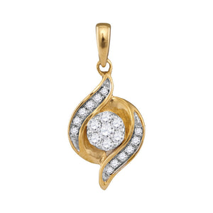 14kt Yellow Gold Womens Round Diamond Flower Cluster Pendant 1/5 Cttw