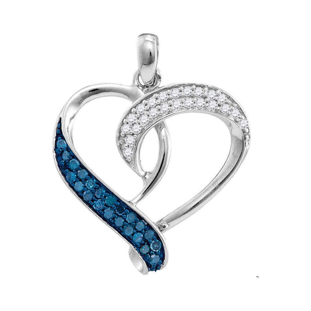Sterling Silver Womens Round Blue Color Enhanced Diamond Heart Love Pendant 1/5 Cttw