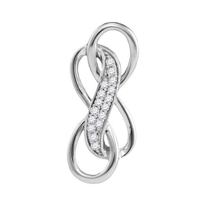 Sterling Silver Womens Round Diamond Triple Infinity Pendant 1/10 Cttw