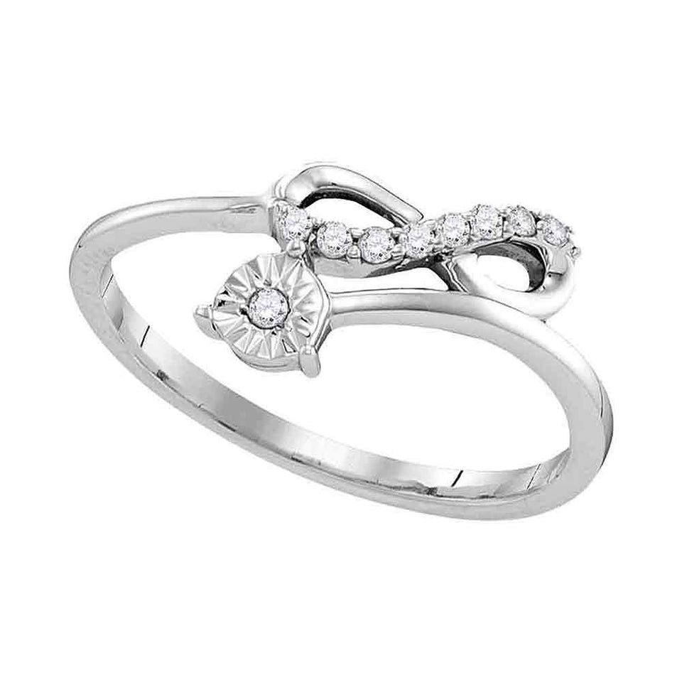 Sterling Silver Womens Round Diamond Band Ring 1//10 Cttw