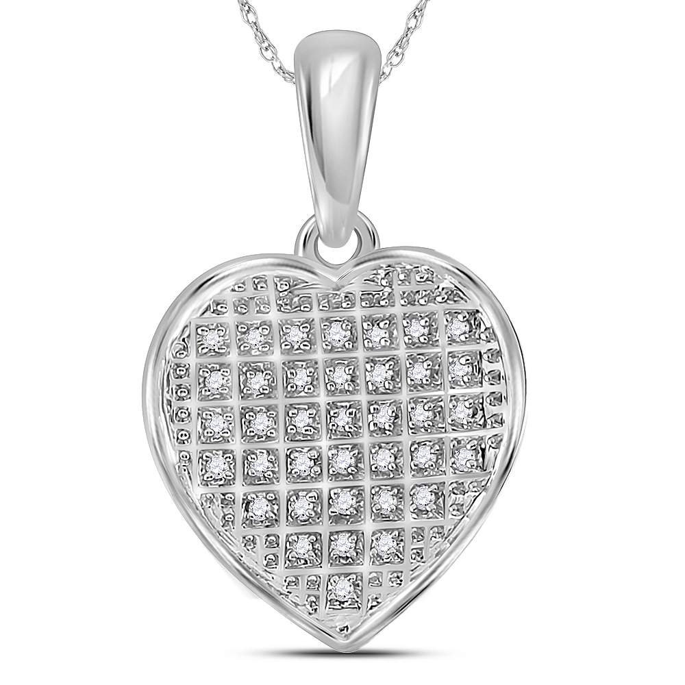 Sterling Silver Womens Round Diamond Heart Pendant 1//10 Cttw