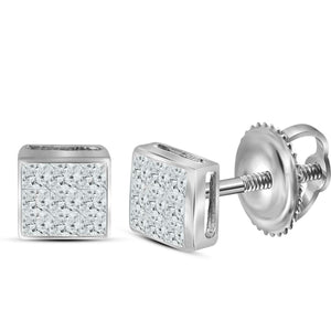 14kt White Gold Womens Princess Diamond Square Cluster Stud Earrings 1/4 Cttw