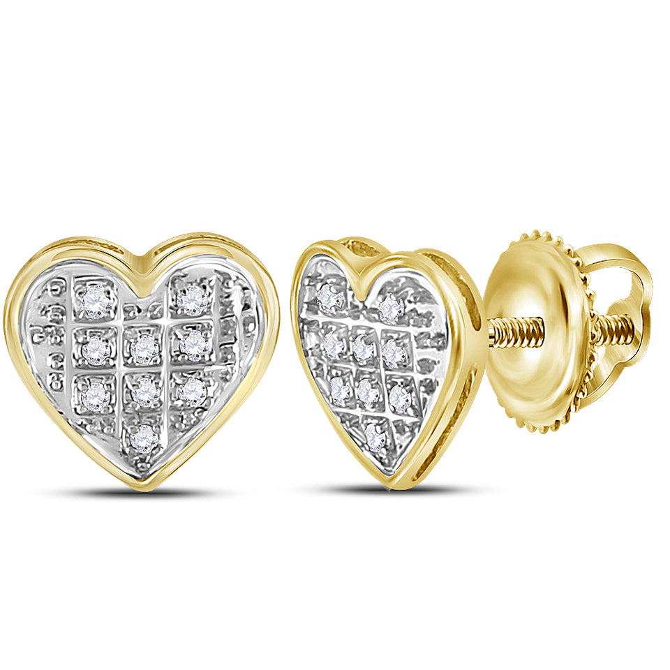 Yellow-tone Sterling Silver Womens Round Diamond Heart Cluster Stud Earrings 1//20 Cttw