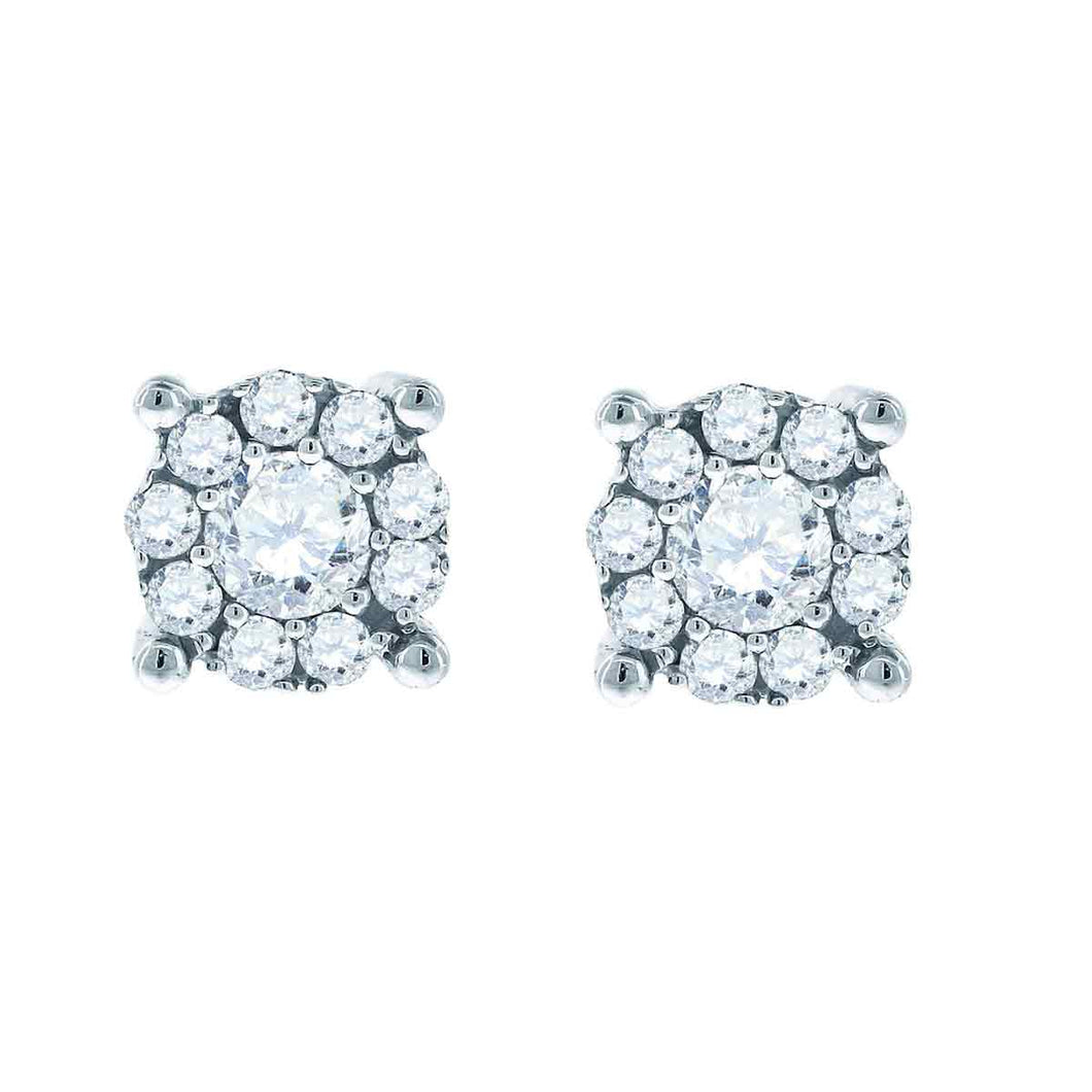 14kt White Gold Womens Round Diamond Framed Solitaire Stud Earrings 1.00 Cttw